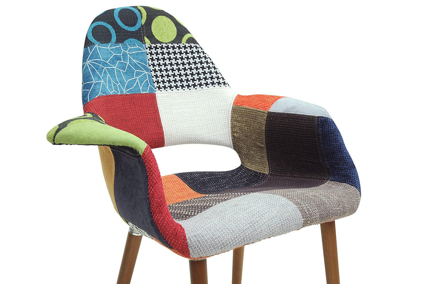 Amazon com baxton studio forza patchwork mid century style accent chair set of 2 chairs