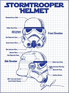 Star Wars Assorted Design Patent Art Poster 18 x 24 inch Silk Screen Prints (Star Wars Characters: Stormtrooper Helmet - White Grid)