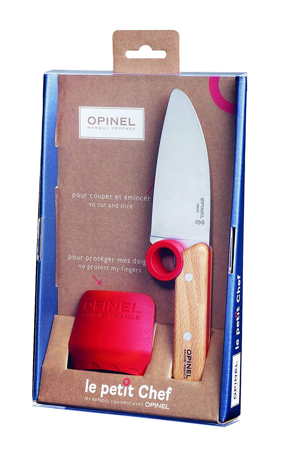 Opinel Le Petit Chef Box set (2 Piece Set) Educational Cooking Equipment for Kids with Stainless Steel Chef Knife and Finger Guard