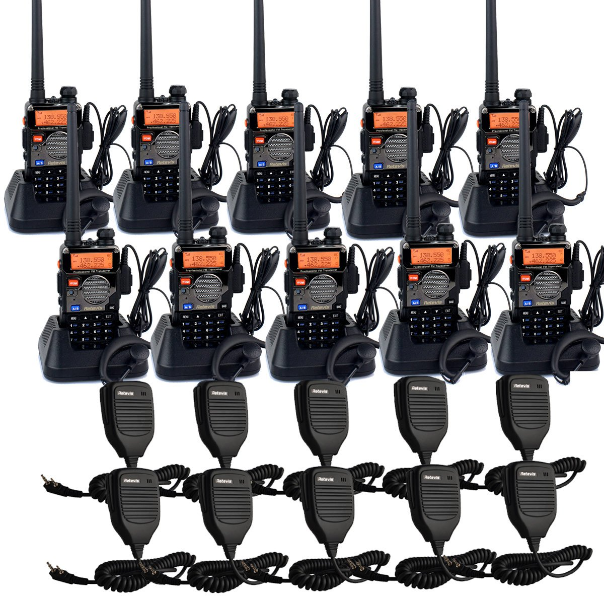 Retevis RT-5RV Walkie Talkies 5W 128CH Dual Band VHF/UHF 136-174/400-520 MHz VOX CTCSS/DCS FM Ham Radio with Earpiece (10 Pack) and Speaker Mic (10 Pack)