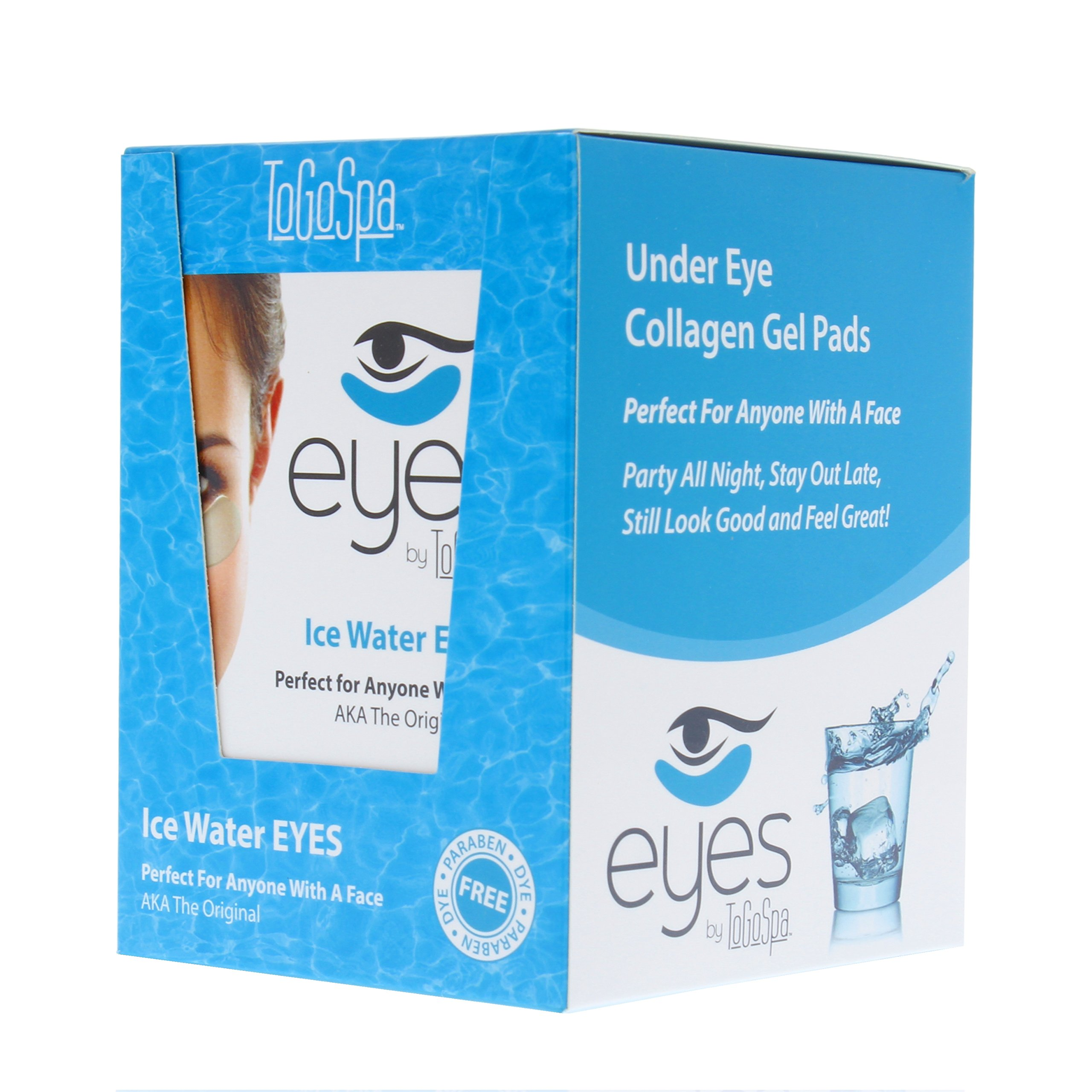 Ice Water EYES by ToGoSpa - Premium Anti-Aging Collagen Gel Pads for Puffiness, Dark Circles, and Wrinkles - Under Eye Rejuvenation for Men & Women - 10 Pack - 30 Pairs