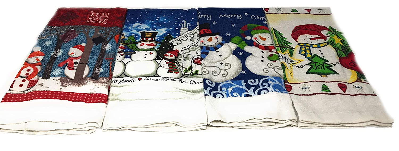 Holiday Snowman キッチンタオル 4枚セット Peace Joy Loveタオル ベリーメリークリスマスタオル ハートは全て家のクリスマスタオルに 遊び心のある雪だるまタオル   B07JW8QGC3