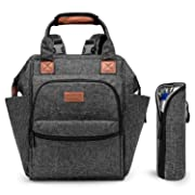 Srotek Diaper Bag Backpack Large Baby Bag Water-Resistant Baby Nappy Bag with Insulated Water Bottle Bag/Changing Pad for Women/Girls/Mum/Boys/Dad (Black)