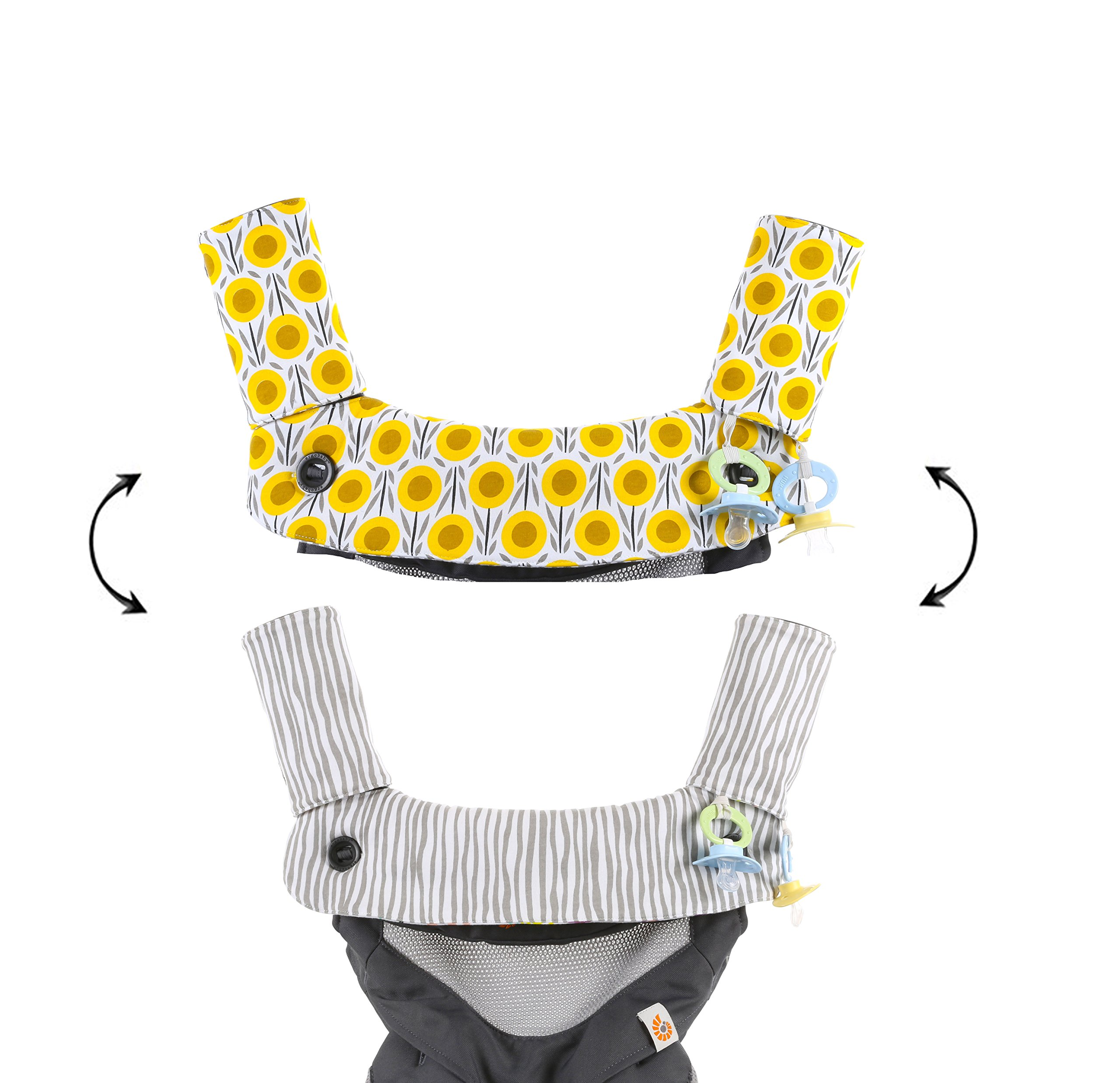 Premium Drool and Teething Reversible Cotton Pad | Fits Ergobaby Four Position 360 + Most Baby Carrier | Sunflower Design | Hypoallergenic | Great Baby Girl Shower Gift by Mila Millie