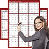 Large 2017 Yearly Wet and Dry Erase Wall Calendar, 24 x 36 Inches, 2-Sided Reversible Vertical/Horizontal by Delane, Mounting Tape Included (AWC-001) (Red)