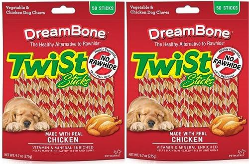 DreamBone Chicken Twist Sticks Dog Chews, 50- Count - 2 Pack
