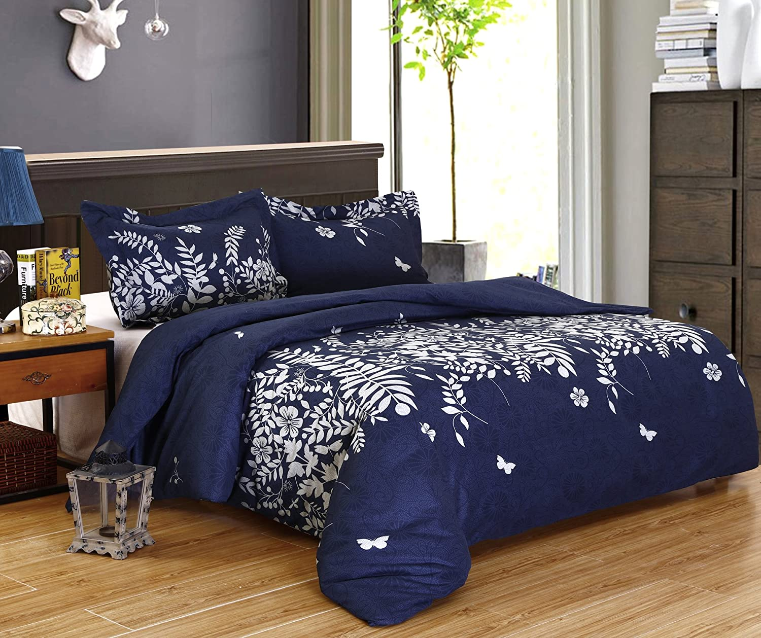 DelbouTree 3pcs Bedding Set,Lightweight Microfiber Duvet Cover Set,Full Queen size Navy Jungle