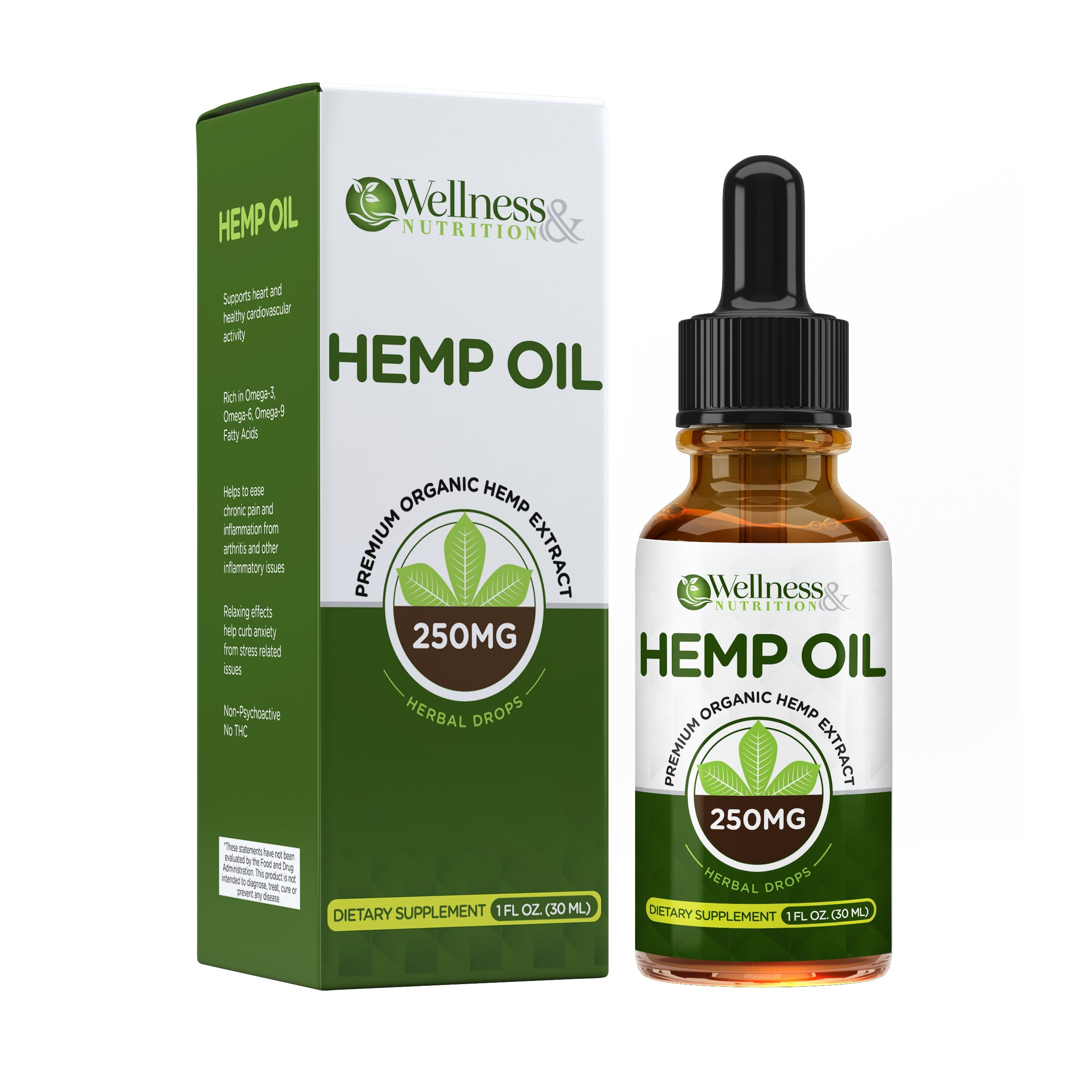 Hemp Oil Extract (1 FL OZ) :: Premium Formula :: All-Natural Wellness Booster :: Promotes Relaxation :: One Month Supply :: Wellness and Nutrition