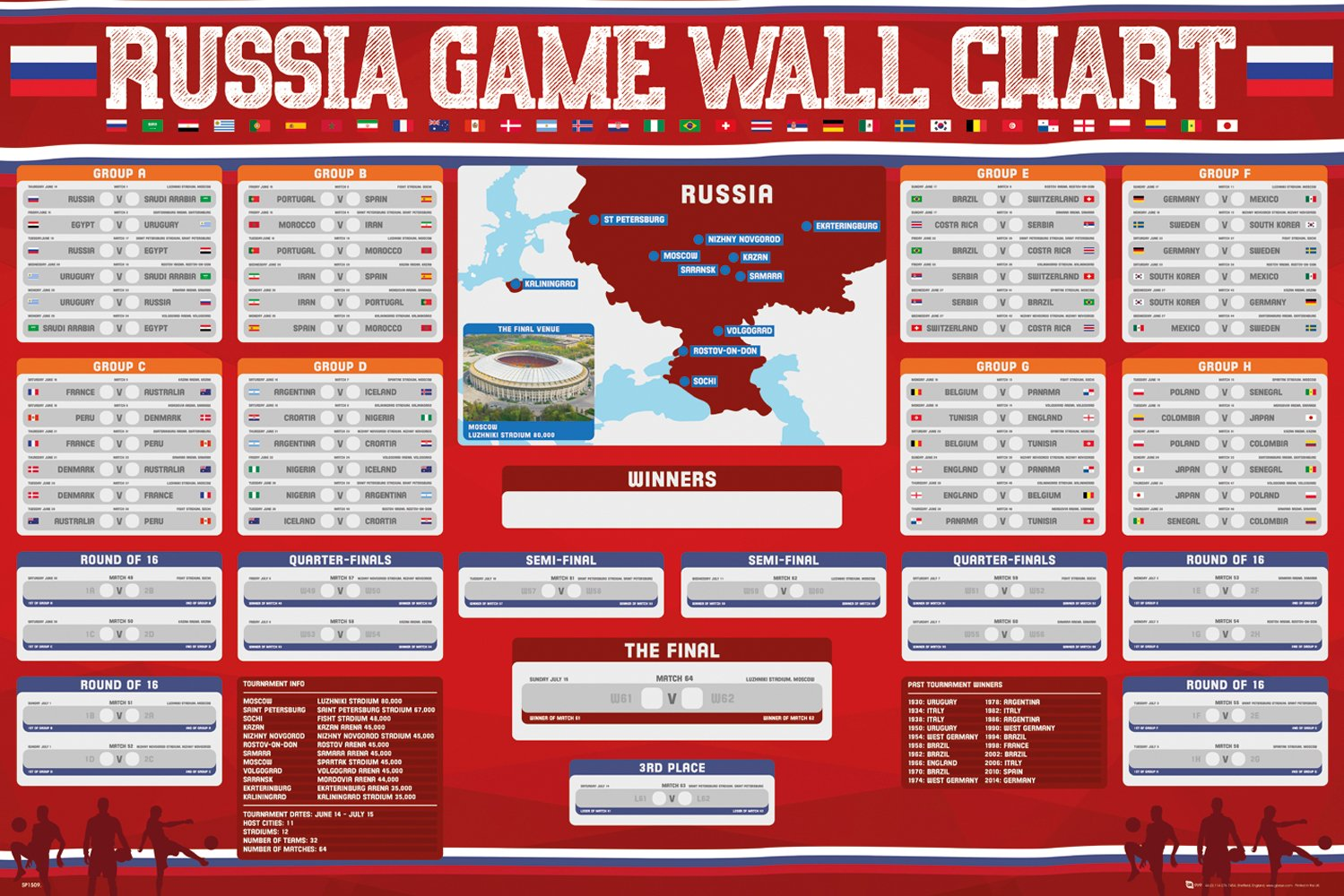 53d78889435 Amazon.com  World Cup Russia 2018 Wall Chart Poster  Sports   Outdoors