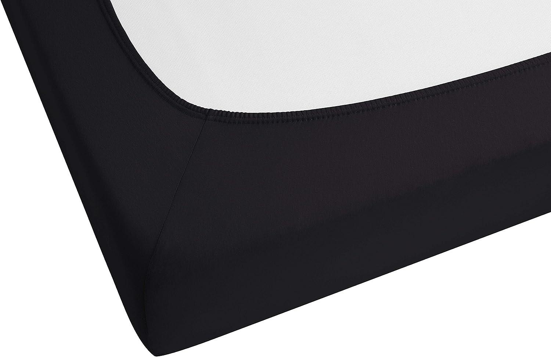 Castell 77113//080//040 Drap Housse en Jersey Stretch pour un Lit Simple Noir 90 x 190 cm /à 100 x 200 cm