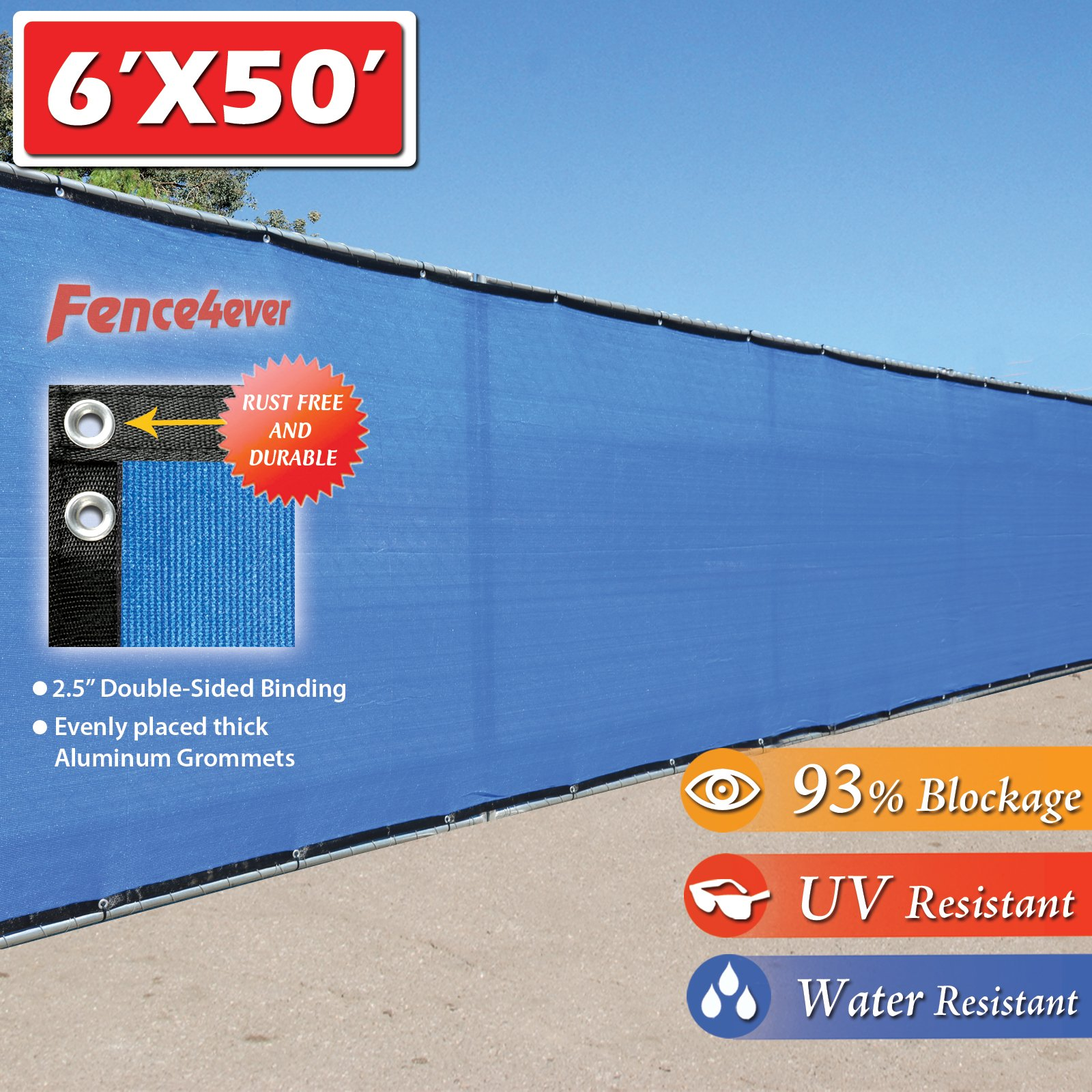 Fence4ever 6'x50' 6ft Tall 3rd Gen Royal Blue Fence Screen Privacy Screen Windscreen Shade Cover Mesh Fabric (Aluminum Grommets) Home, Court, or Pool