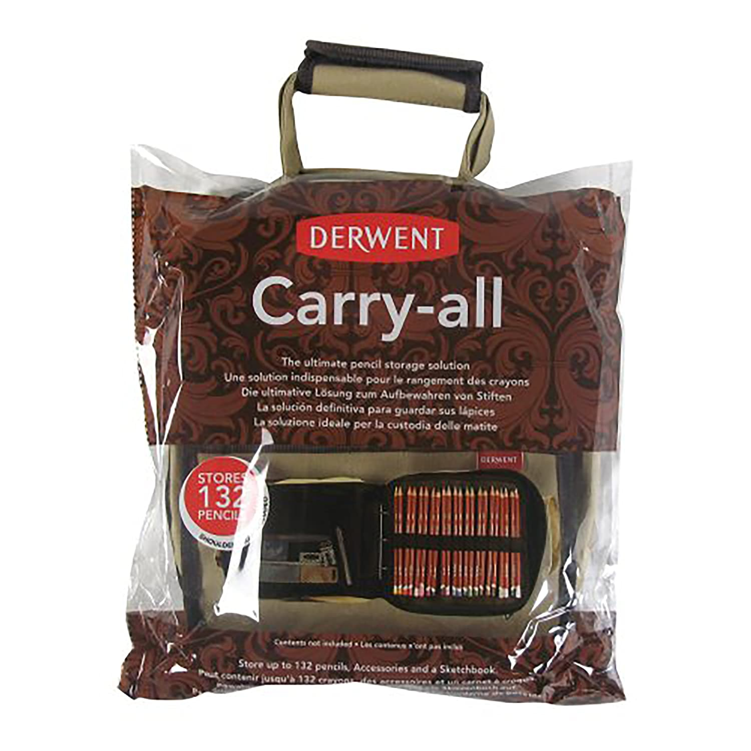 Derwent Pencil Case, Canvas Carry-All Bag Pencil Holder with Removable Shoulder Strap, Holds up to 132 Pencils and Supplies (2300671)