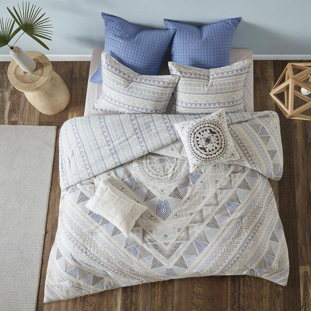 Urban Habitat Rochelle Full/Queen Comforter Set Teen Boy Bedding Bed in A Bag - Blue, Geometric – 7 Piece Bed Sets – 100% Cotton Bed Comforter