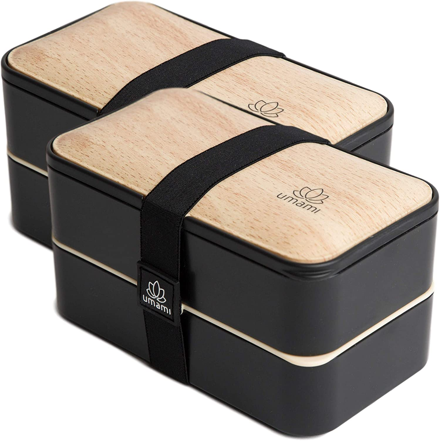 UMAMI All-in-One Bento Box for Adults/Children, 1 New Sauce Pot,4 Full Wood Cutlery Set & 2 Dividers Included, 2 Meal Prep Lunch Box Food Containers for Men/Women, Microwave, Dishwasher & Freezer Safe