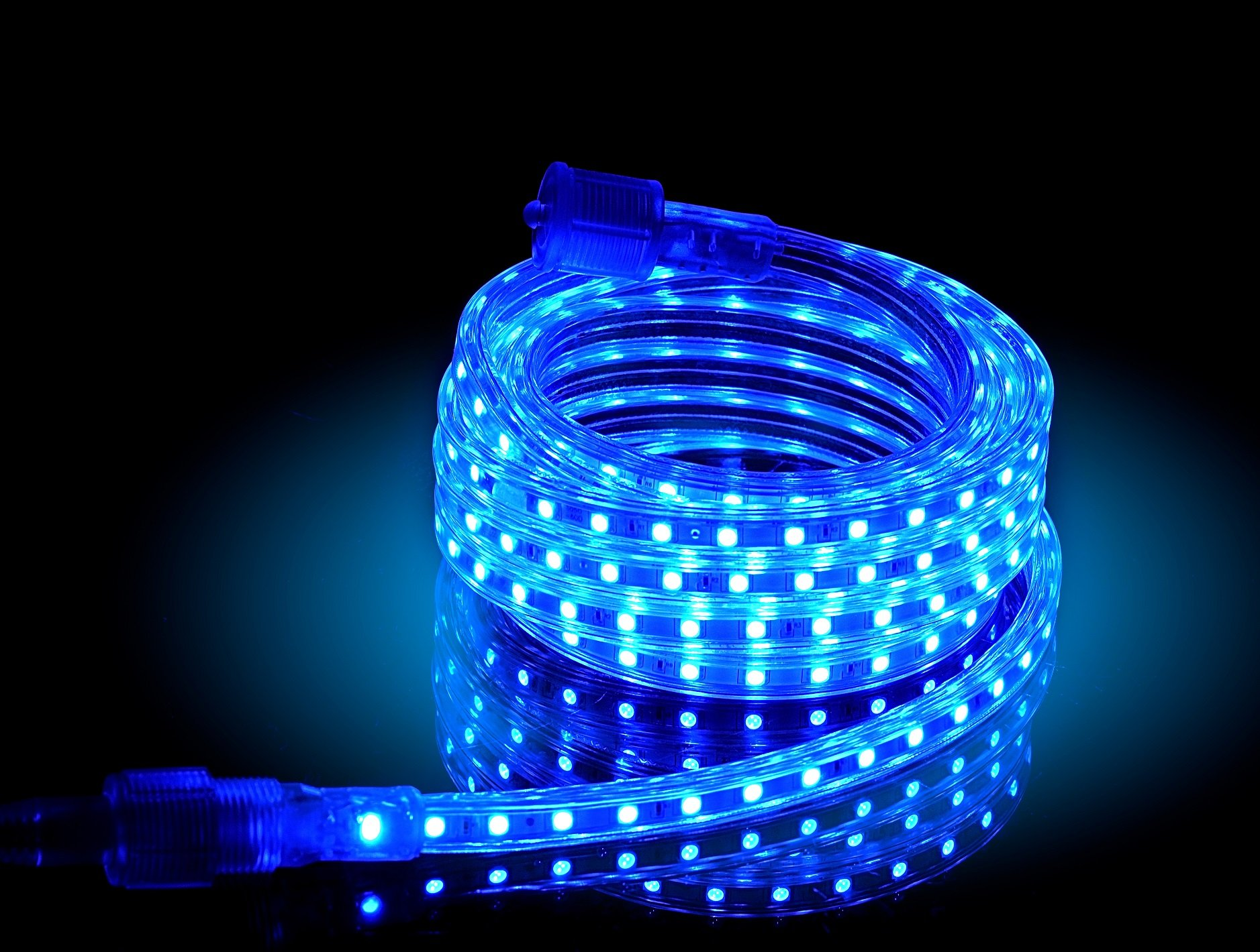 CBConcept UL Listed, 65 Feet,Super Bright 18000 Lumen, Blue, Dimmable, 110-120V AC Flexible Flat LED Strip Rope Light, 1200 Units 5050 SMD LEDs, Indoor/Outdoor Use, [Ready to use] by CBconcept (Image #2)