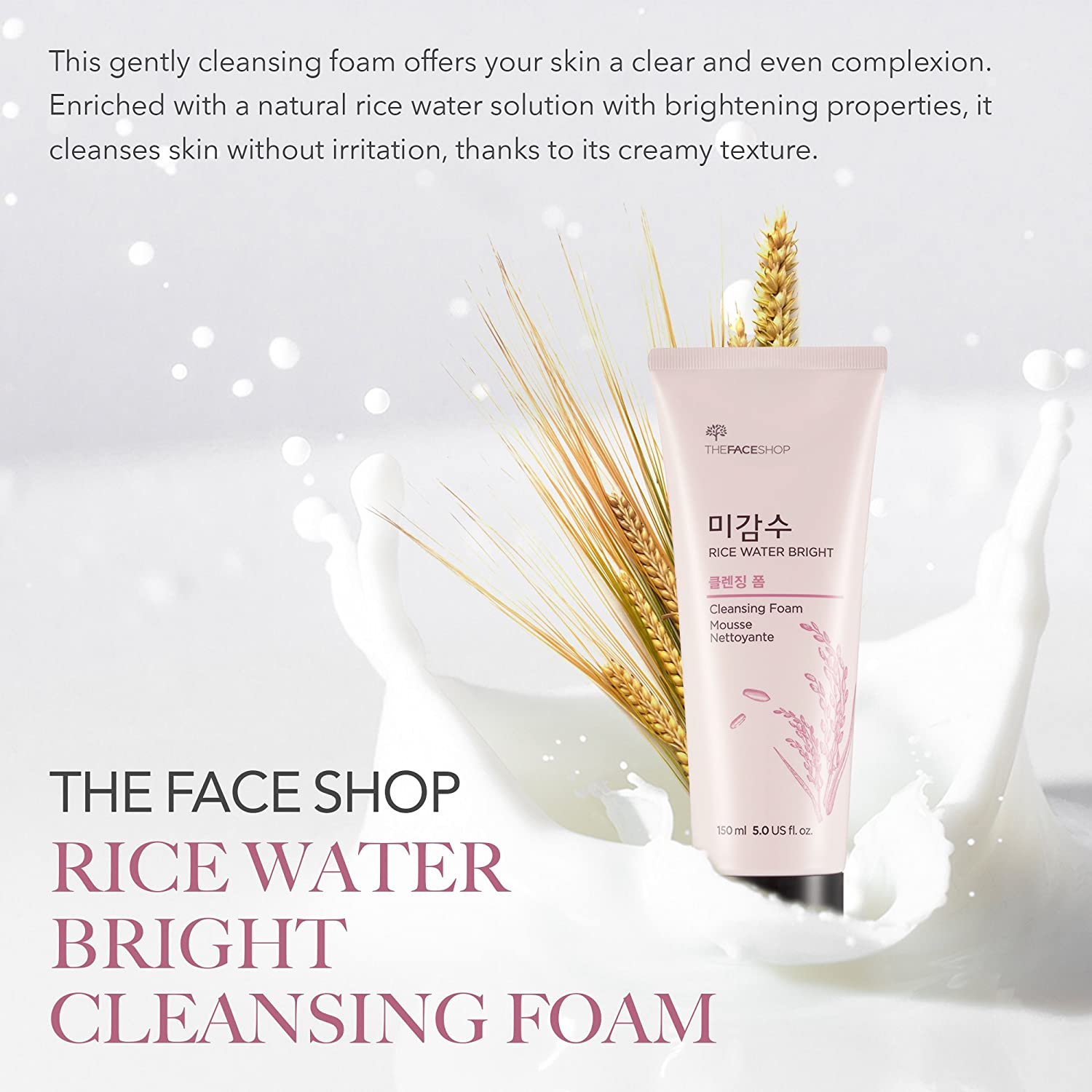 a5481ab25c38 [THEFACESHOP] Rice Water Bright Foaming Cleanser with Rice Bran for  Removing Dead Skin,...