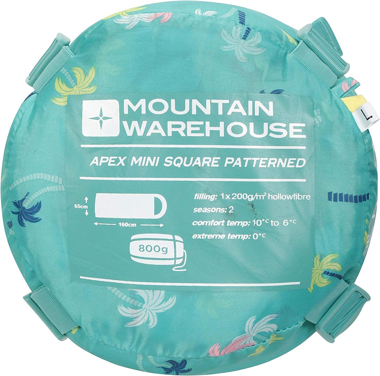 pour lext/érieur Mountain Warehouse Sac de Couchage Apex Mini /à Motifs pour Enfant en Fibre Creuse l/éger Id/éal pour Le Camping Bleu Cobalt Taille Unique Isolant