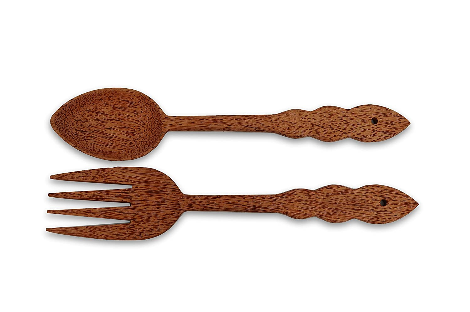VietsWay Handmade Coconut Wood Giant Fork & Spoon Set Wall Kitchen Home Décor