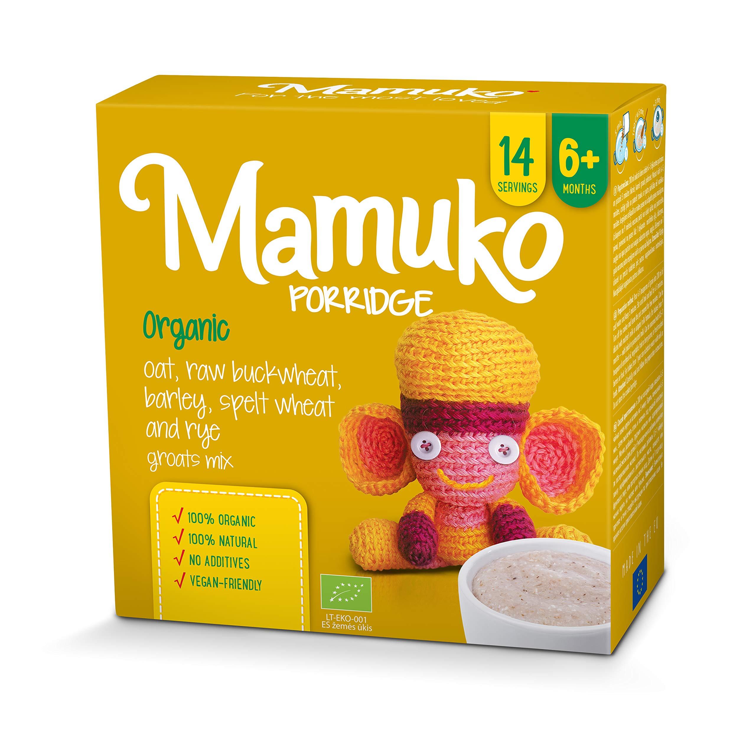MAMUKO PORRIDGE - 5 Grain. Organic Mix of Oat, raw buckwheat, Barley, Spelt Wheat and rye Groats, 6+ Months
