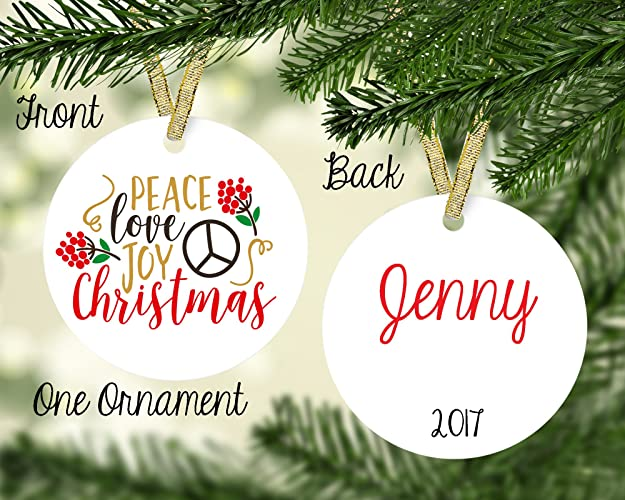 Amazon Personalized Porcelain Peace Sign Love Joy Christmas