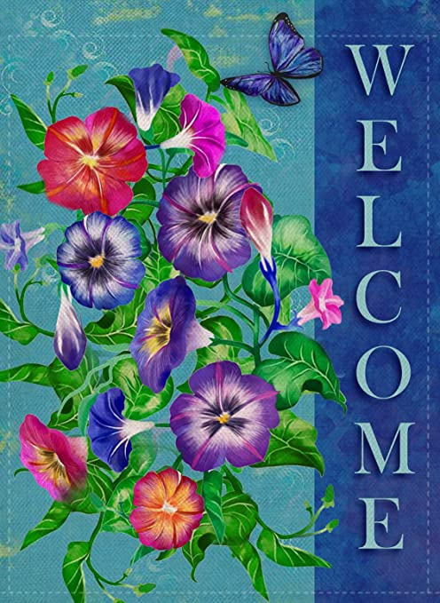 Dyrenson Welcome Quote Garden Flag Double Sided Home Decorative Pansies Flower House Yard Flag Floral Garden Yard Decorations Butterfly Seasonal Outdoor Flag 12 X 18 For Summer Spring Amazon Ca Patio Lawn