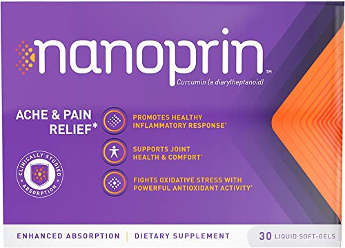 Nanoprin Pain Relief Curcumin Softgel Capsules – Anti Inflammatory Supplement for Back Joint Pain Relief and Arthritis Pain Relief 1 Pack