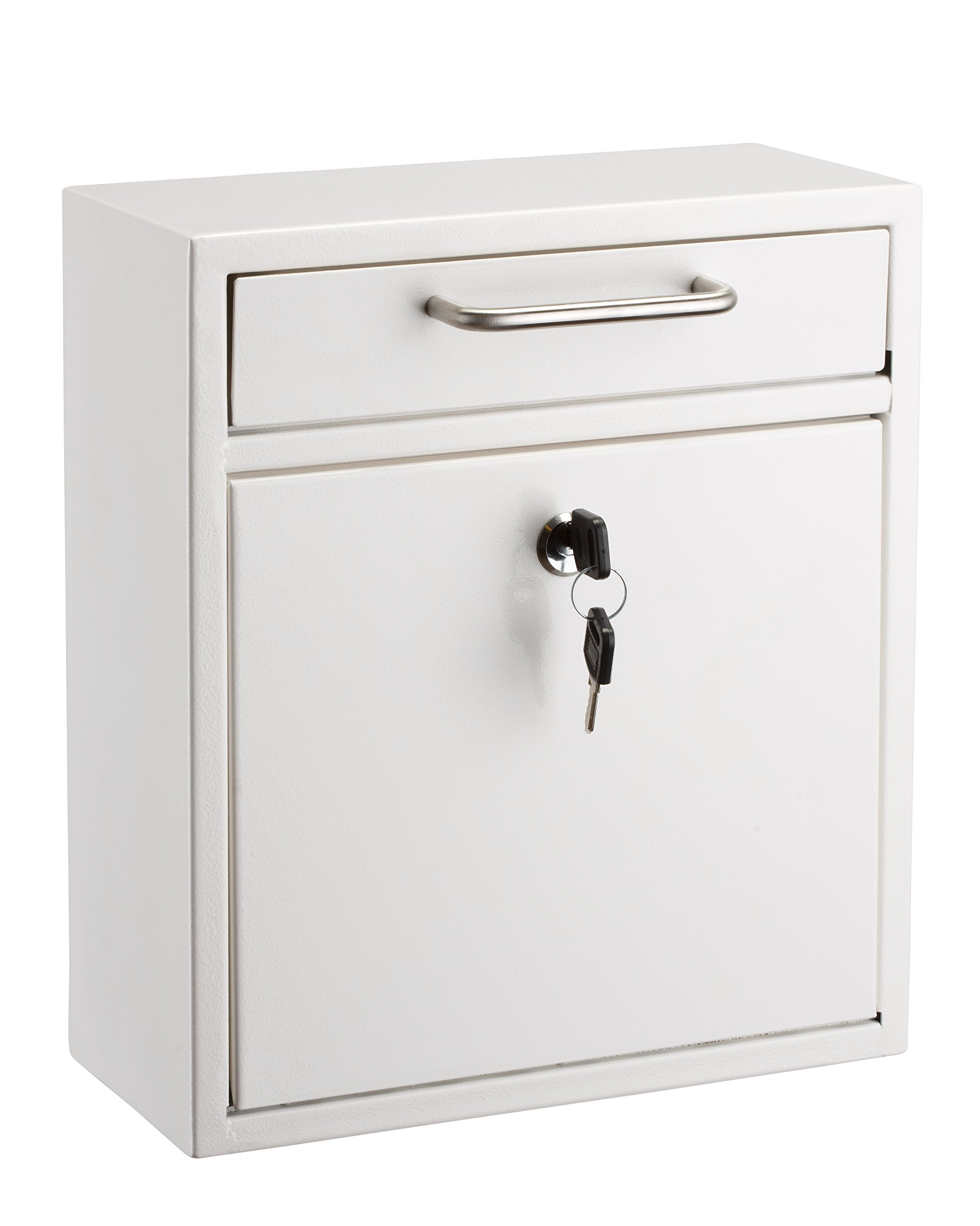 AdirOffice Locking Drop Box - Wall Mounted Mailbox - (Medium, White)