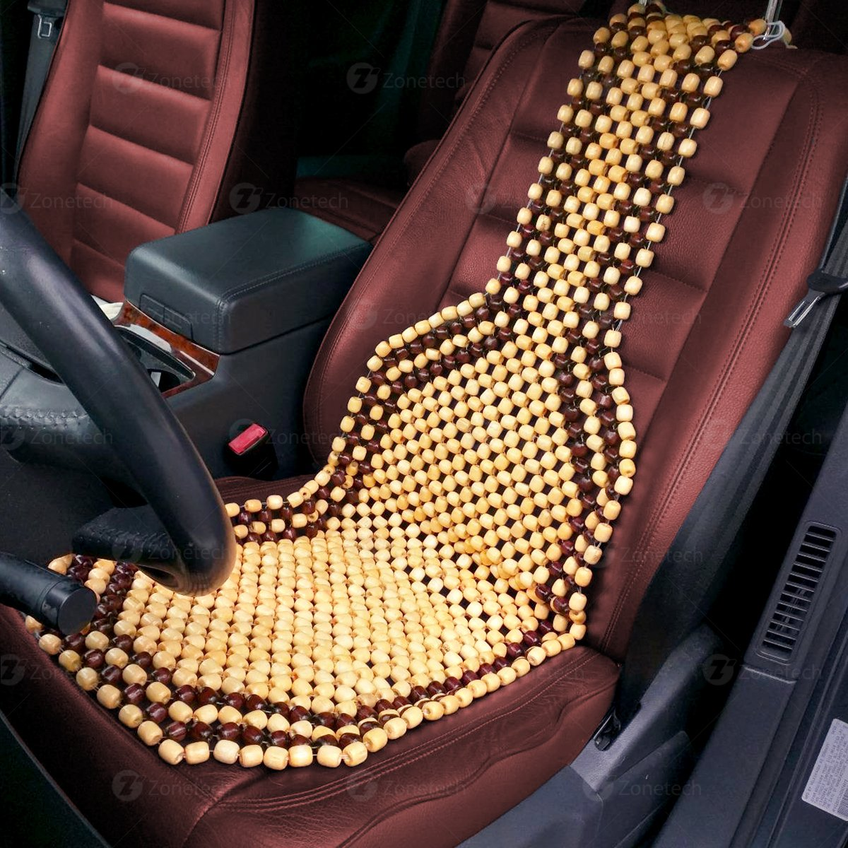 Premium Quality Car Massaging Double Strung Wood Beaded Seat Cushion for Stress Free all Day Zone Tech Wood Beaded Seat Cushion SE0004