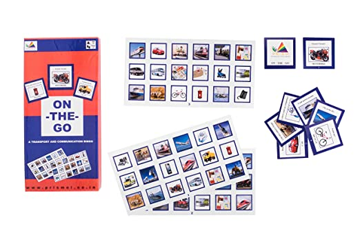 Prism Edutives On The Go Clue Based Pictorial On Means Of Transport And Communication Bingo (Blue and Pink)
