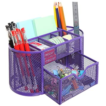Hemara Mesh Desk Organizer Pen Holder Steel Office Supply Caddy Desk Storage  Box Mesh Desk Organizer