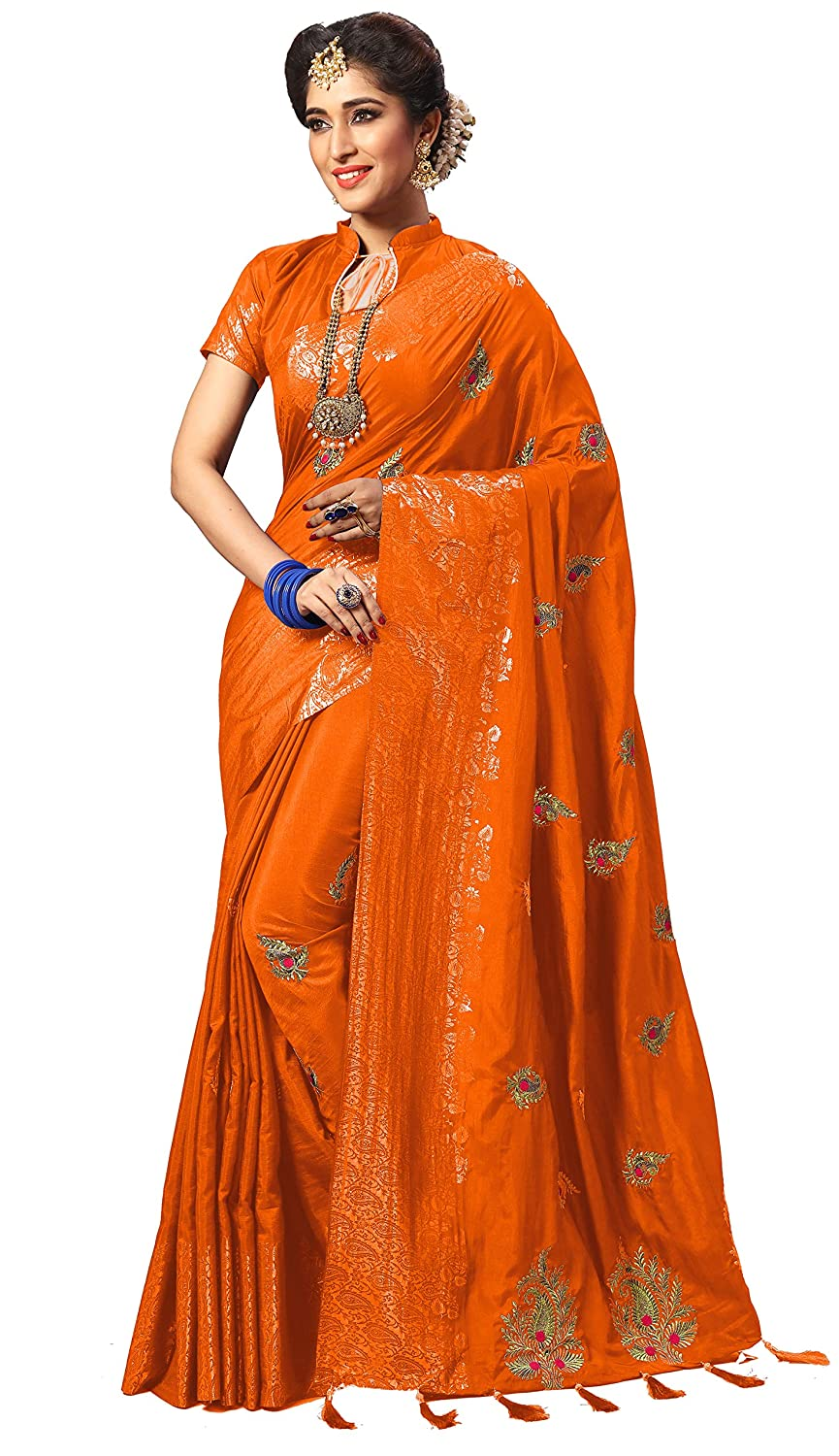 orange Nivah Fashion Women's Silk Embroidery Work With Diamond's Material Saree