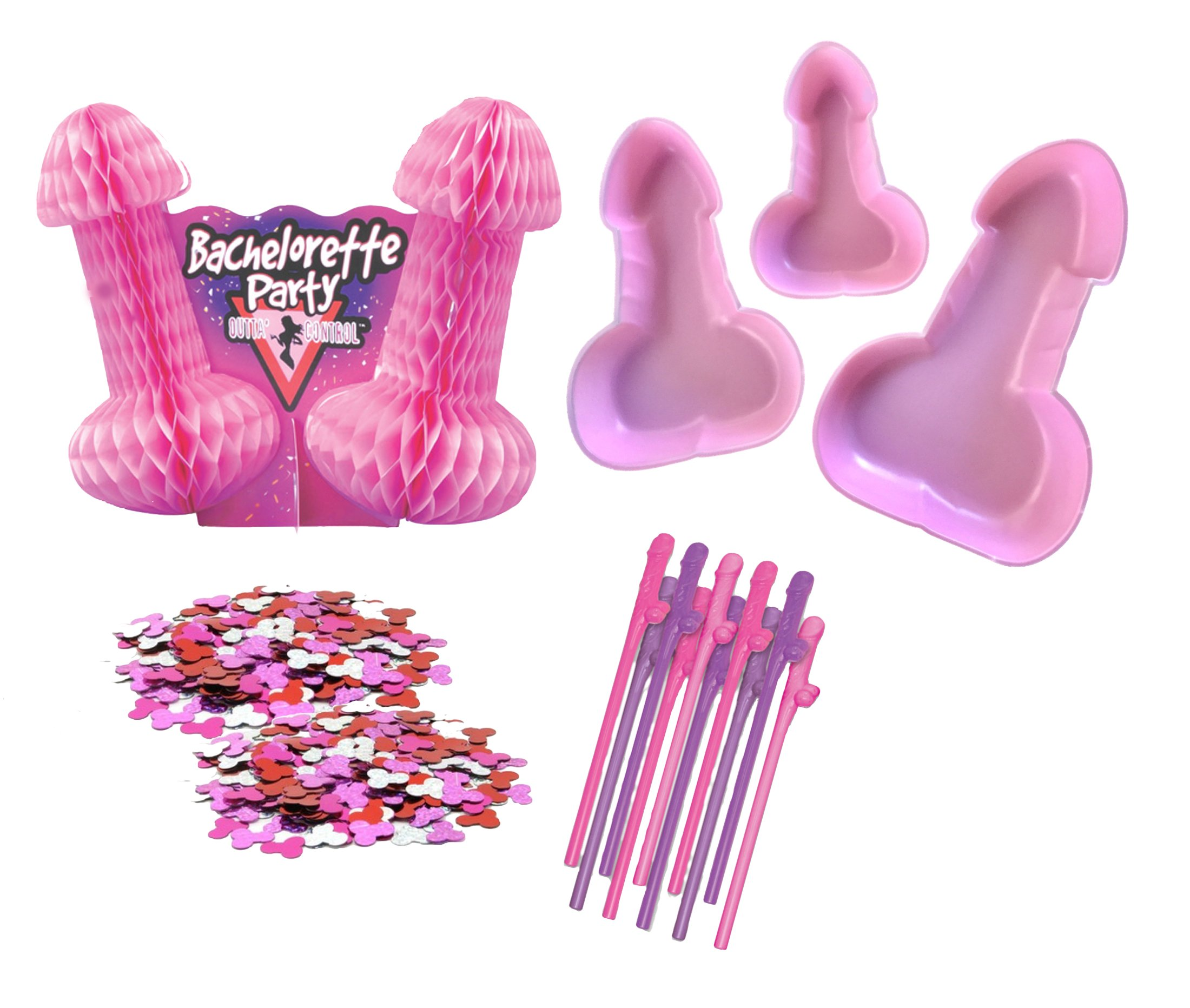 Bachelorette Party Supplies Kit - Penis Straws, Pecker Trays, Willie Confetti, Naughty Centerpiece (15 piece) by My Miss Priss