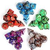 INTEY 35 Polyedrische Würfel in 5 Farben - 5 Würfeln-Beuteln, ein Beutel 7 Würfel für Dungeons und Dragons