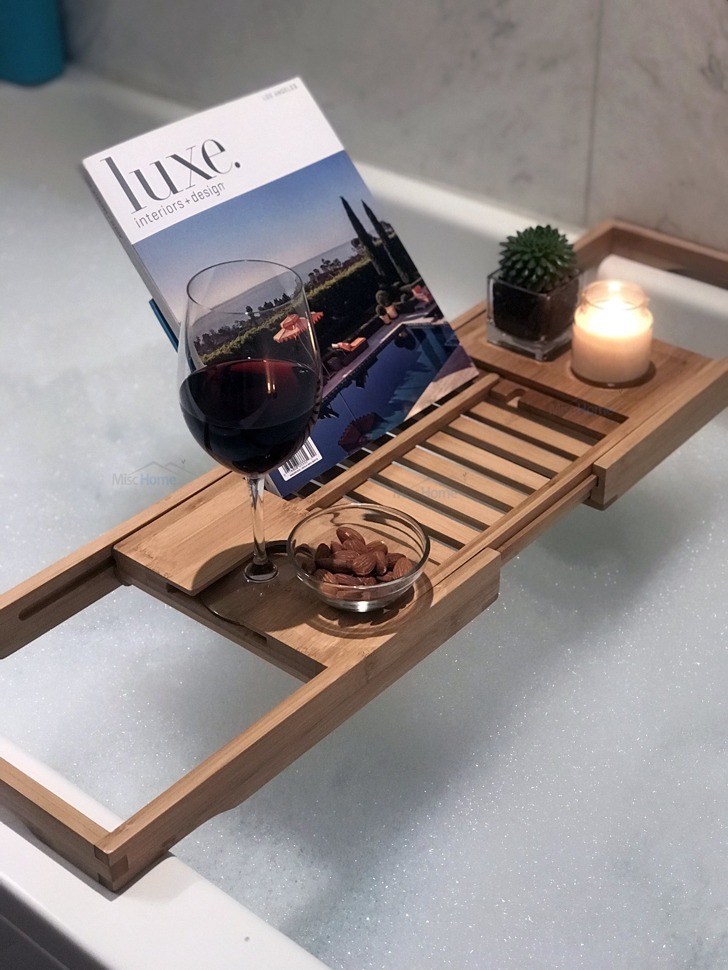 [Luxury] Bamboo Bathtub Caddy Tray with Expanding Sides, Premium Bath Tray, Tablet Holder, Wine Glass Holder, Eco Friendly Spay Tray for Bathtub Tray with Wine Holder for Bathtub by Misc Home (Image #2)