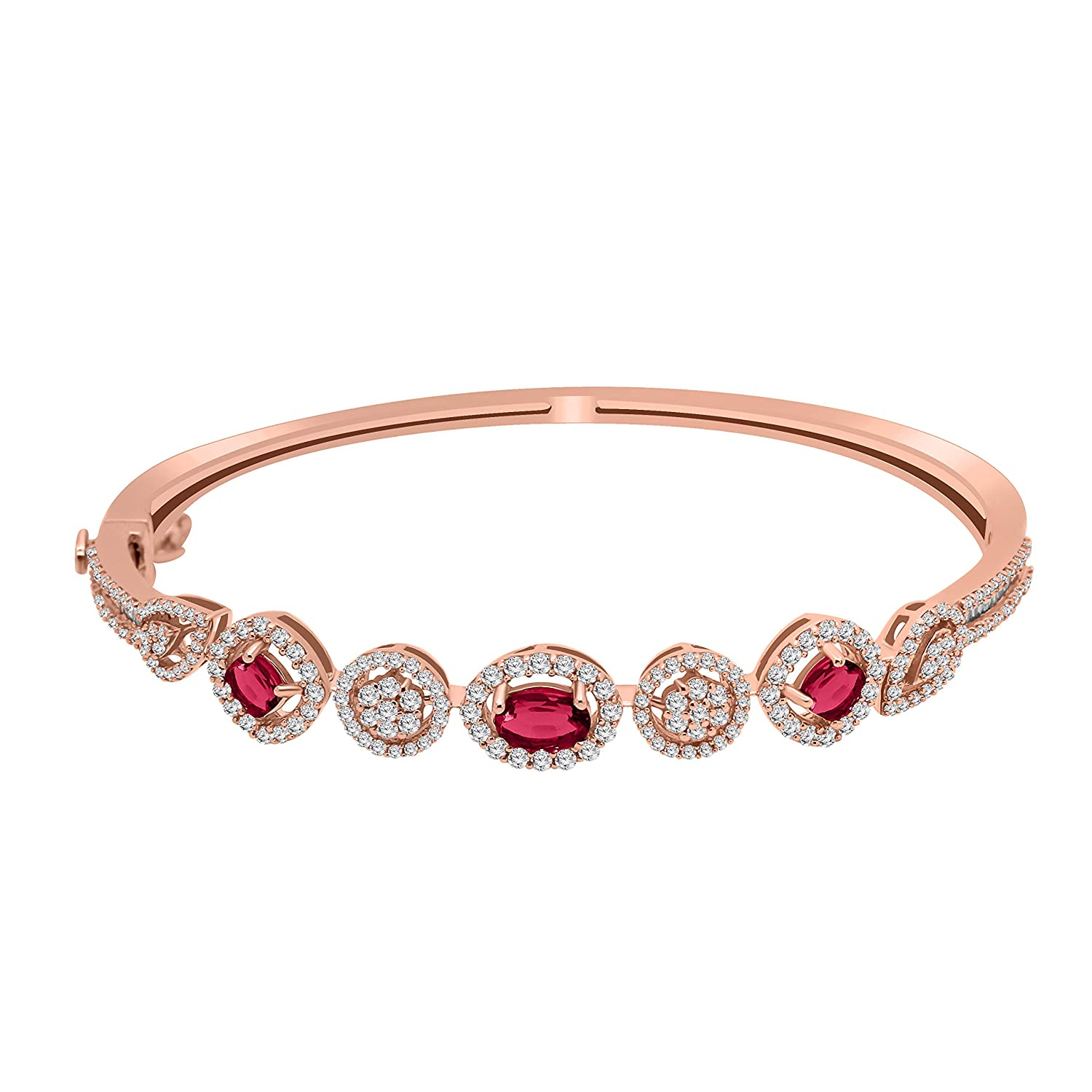 1.08CT Diamond /& Ruby Bangle in 14K Gold Over Best Suited for Parties