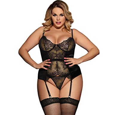 84d730aa0 Lovely Lies Sexy Corset Lingerie and Garter Set Plus Size Push Up Underwire  Bra Black