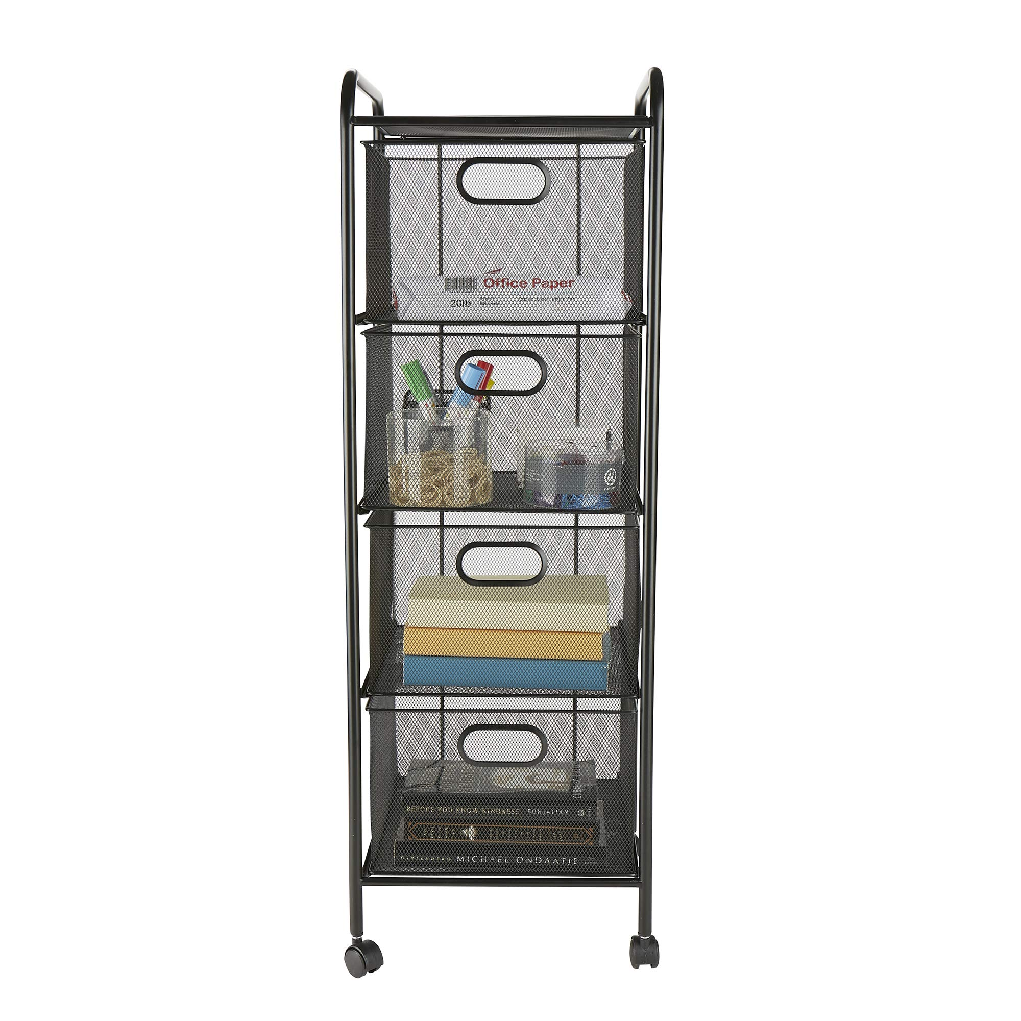 Mind Reader 4VERTM-BLK 4 Rolling Mesh, Metal, Drawers, File, Utility, Office Storage, Heavy Duty Multi-Purpose Cart, Black
