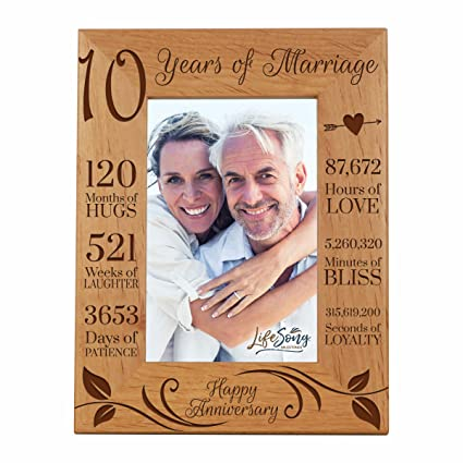 c5e7f115e91 LifeSong Milestones 10th Anniversary Picture Frame 10 Years of Marriage - Ten  Year Wedding Keepsake Gift