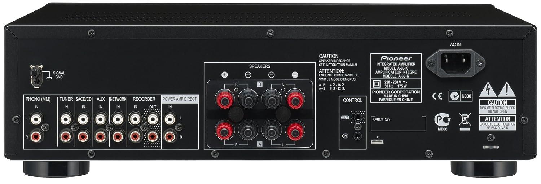 Pioneer A-30-K - Amplificador estéreo (140 W, Botones táctiles, Indicadores LED, Ajuste de Bass, Mando a Distancia), Negro