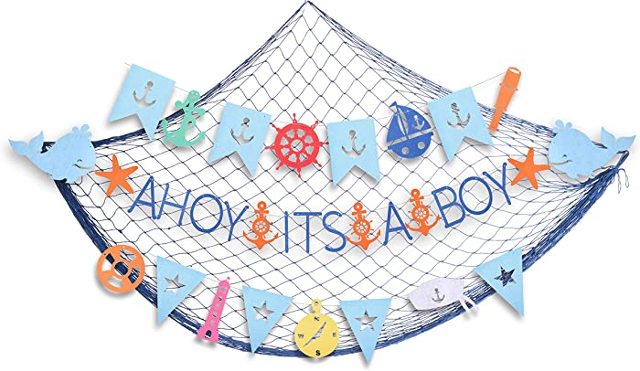 Ahoy It's a Boy Baby Shower Nautical Decorations for Boy | Nautical Its A Boy Nautical Theme Baby Shower for Baby Boy Party Decorations| Shaped Banners for Baby Shower | Nautical Themed Garland Party