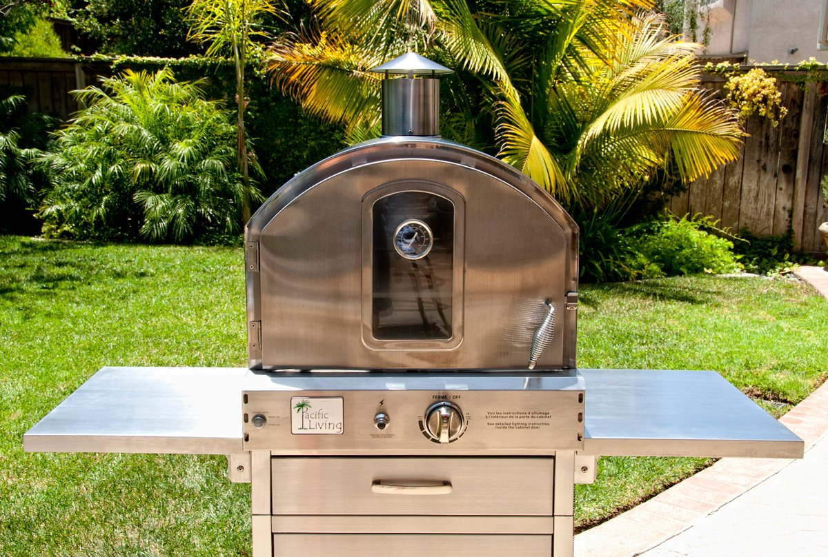 Amazon.com : Pacific Living Outdoor Large Capacity Gas Oven With Pizza  Stone, Smoker Box And Mobile Cart, 430 Stainless Steel : Freestanding  Grills : Garden ...