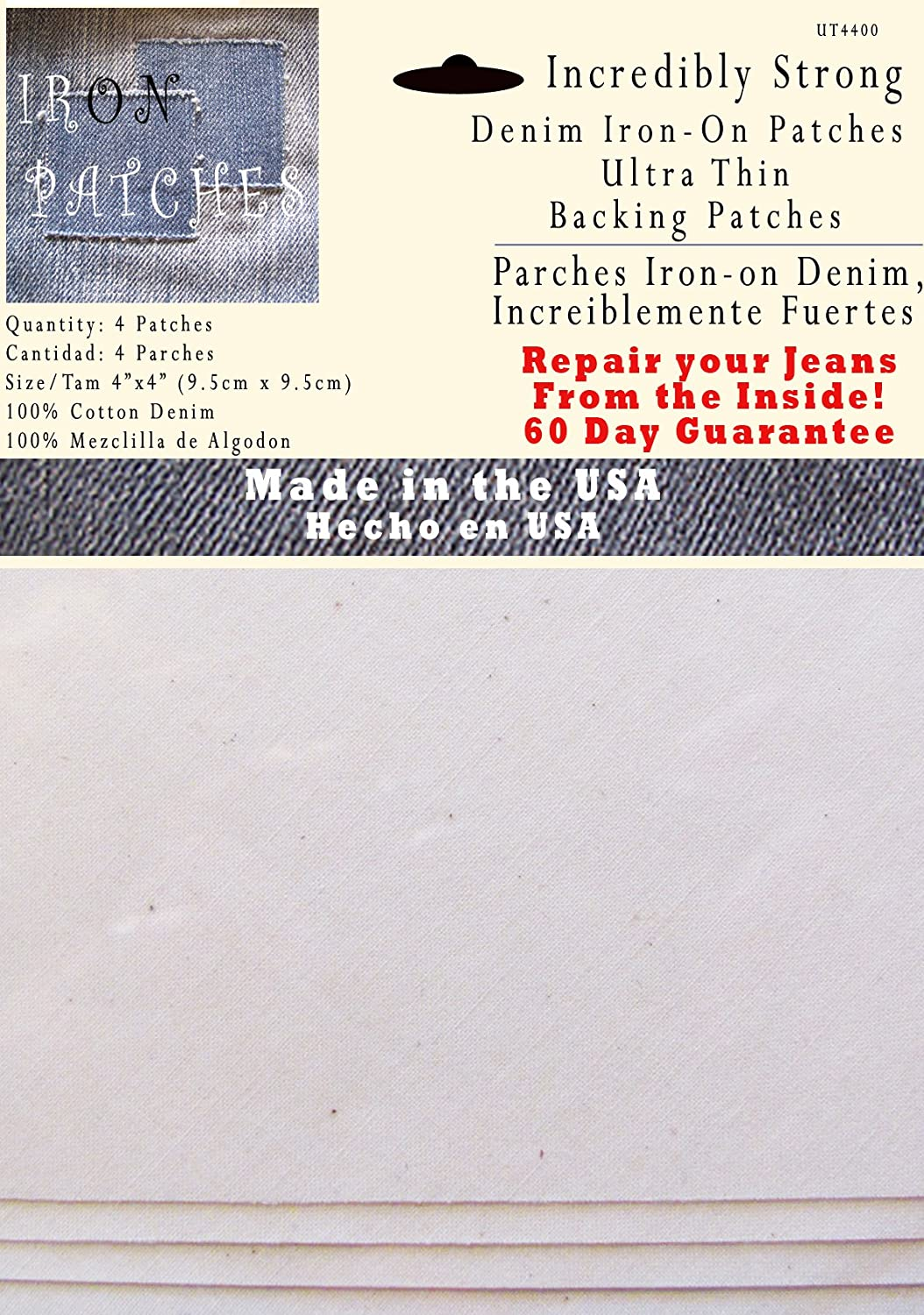 White Super Strong Iron on Inside Patch 4 Ultra Thin Backing Patches