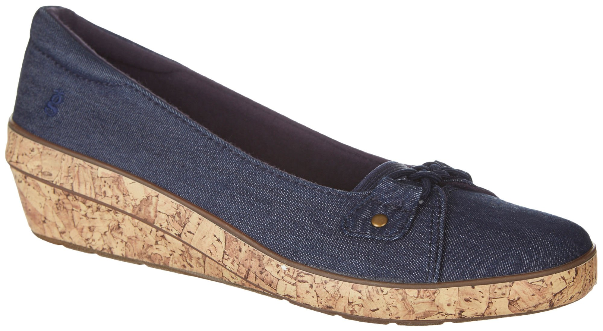 Grasshoppers Women's Lily Wedge Sneaker, Peacoat Navy, 7.5 M US