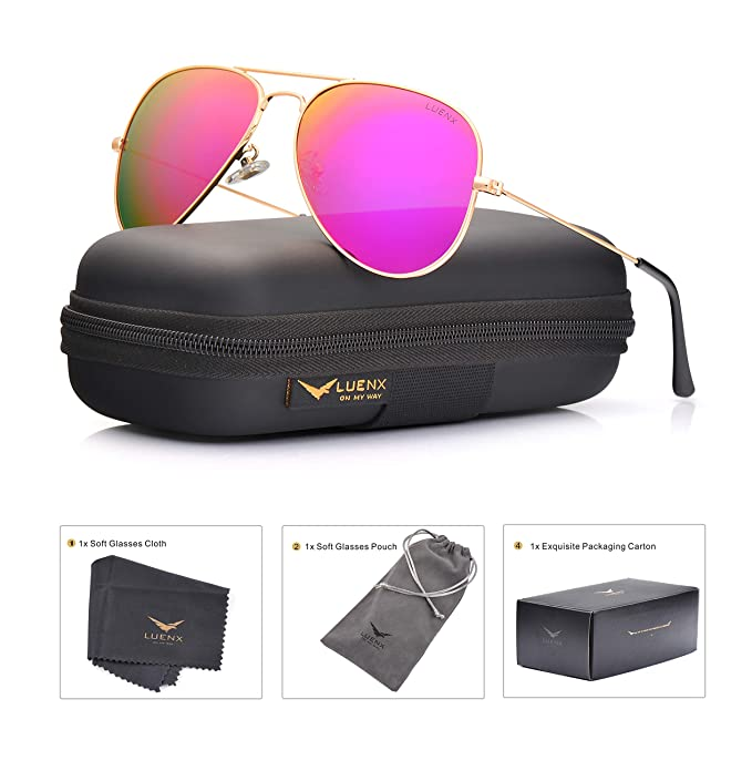82dd70384004b Image Unavailable. Image not available for. Color  LUENX Womens Mens  Aviator Sunglasses Polarized Mirrored Rose Red Lens Metal Frame with Case  60MM UV