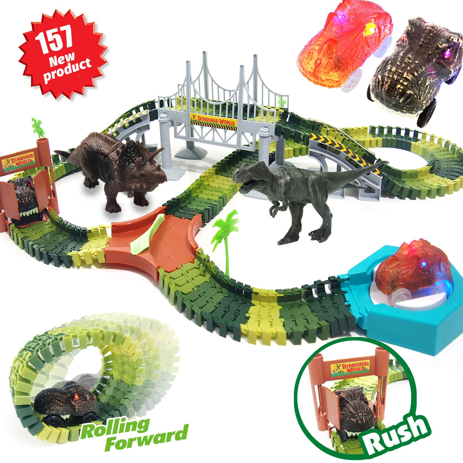 HOMOFY 157PCS Dinosaur Toys Race Car Flexible Track Sets, 1 Turntable, 2 Slopes,3 Dinosaurs, 2 Dinosaurs Car, Playset Toys for 3 4 5 6 7 Years Old Girls Boys Kids Toddlers Gifts
