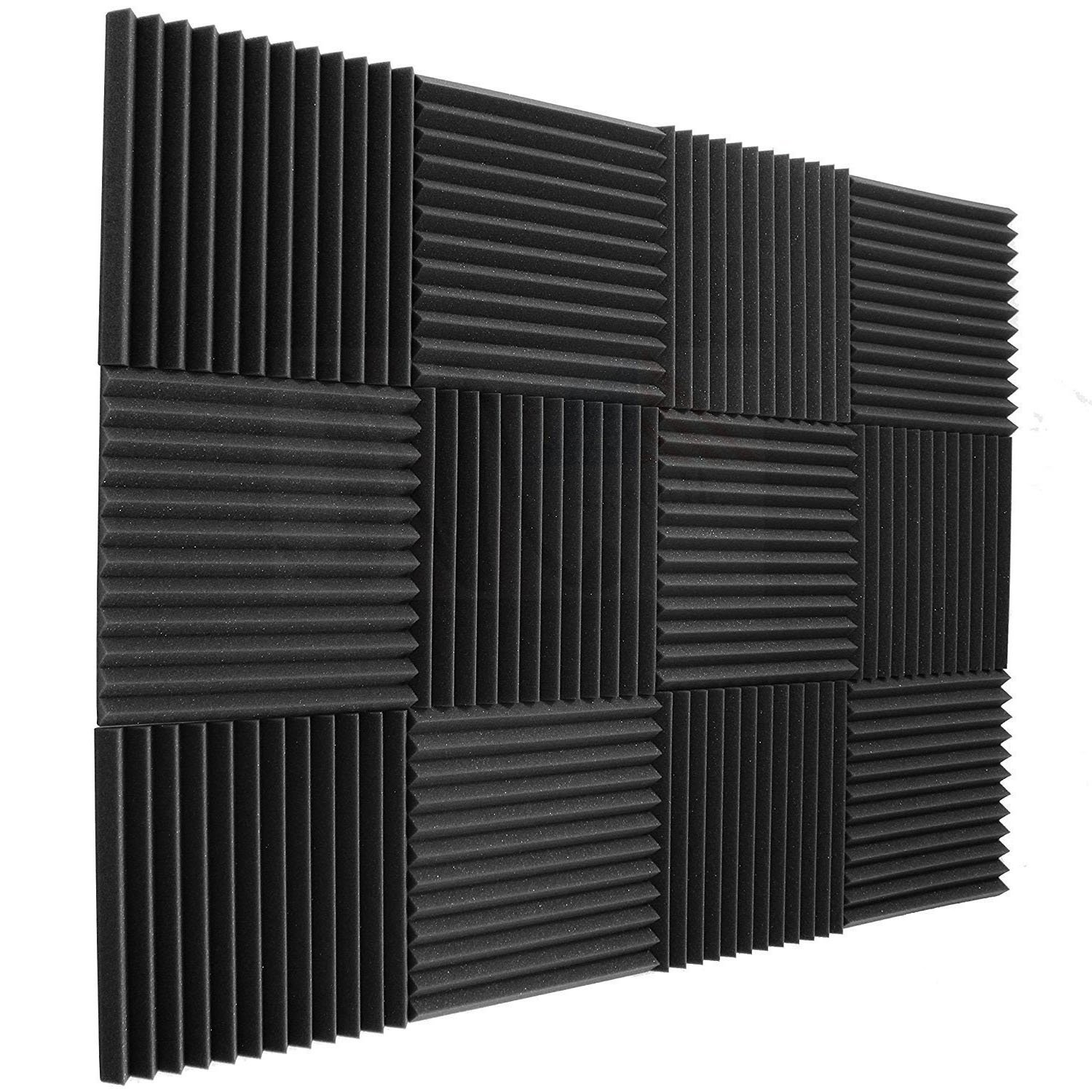 12 pack Acoustic Panels - Acoustic Foam Panels - Sound Proof Studio foam Sound Dampening noise Sound Deadening foam Sound Panels wedges Soundproof Sound Insulation Absorbing 1