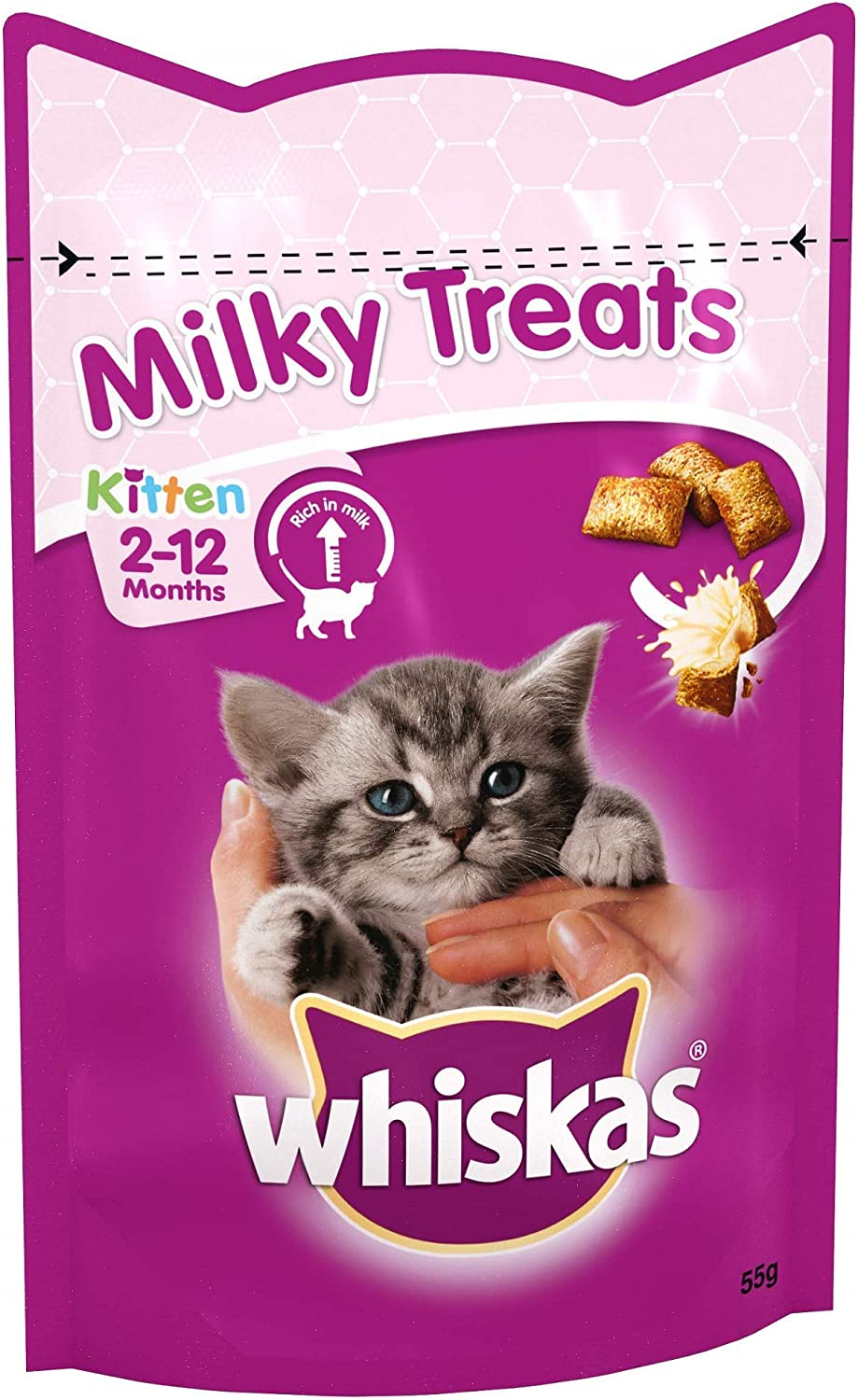 Whiskas Kitten Milky Treats Tasty Milky Treats For Kittens From 2 To 12 Months Small Bite Size Snacks With A Delicious Milky Filling 8 X 55 G Packets Amazon Co Uk Pet Supplies
