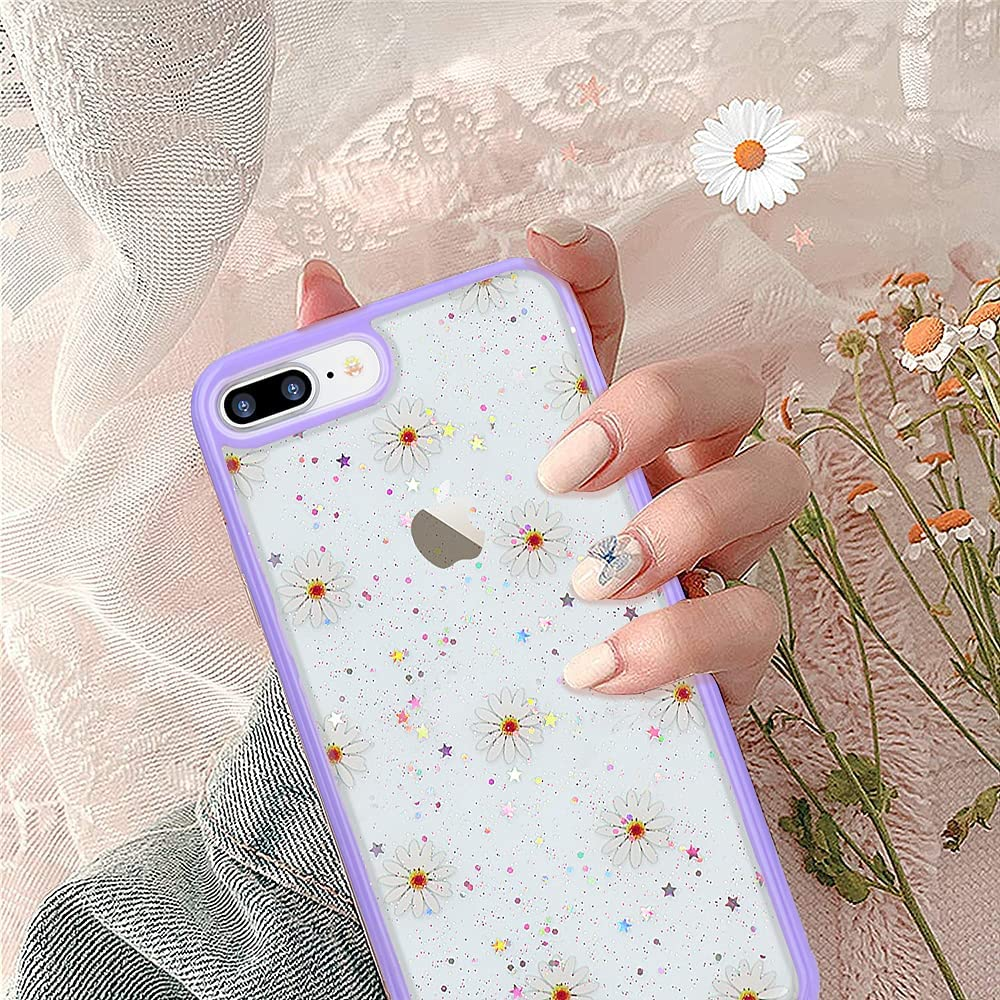 L-FADNUT Compatible with iPhone 7 Plus iPhone 8 Plus Case for Women Cute Protective Clear Flower Case Bling Glitter Floral Silicone Cover Girls Slim Shockproof Case for iPhone 7 Plus iPhone 8 Plus