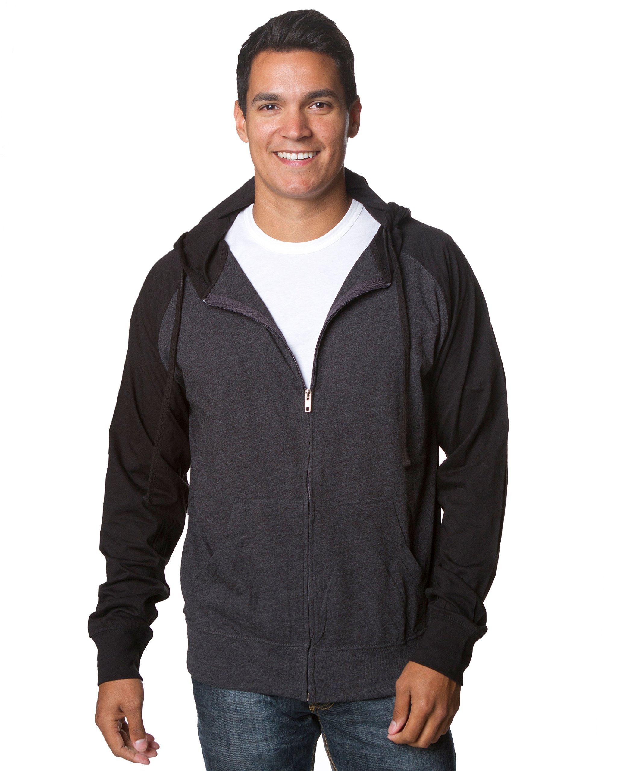 Global Men's Lightweight T-Shirt Jersey Full Zip up Hoodie Hooded Sweatshirt