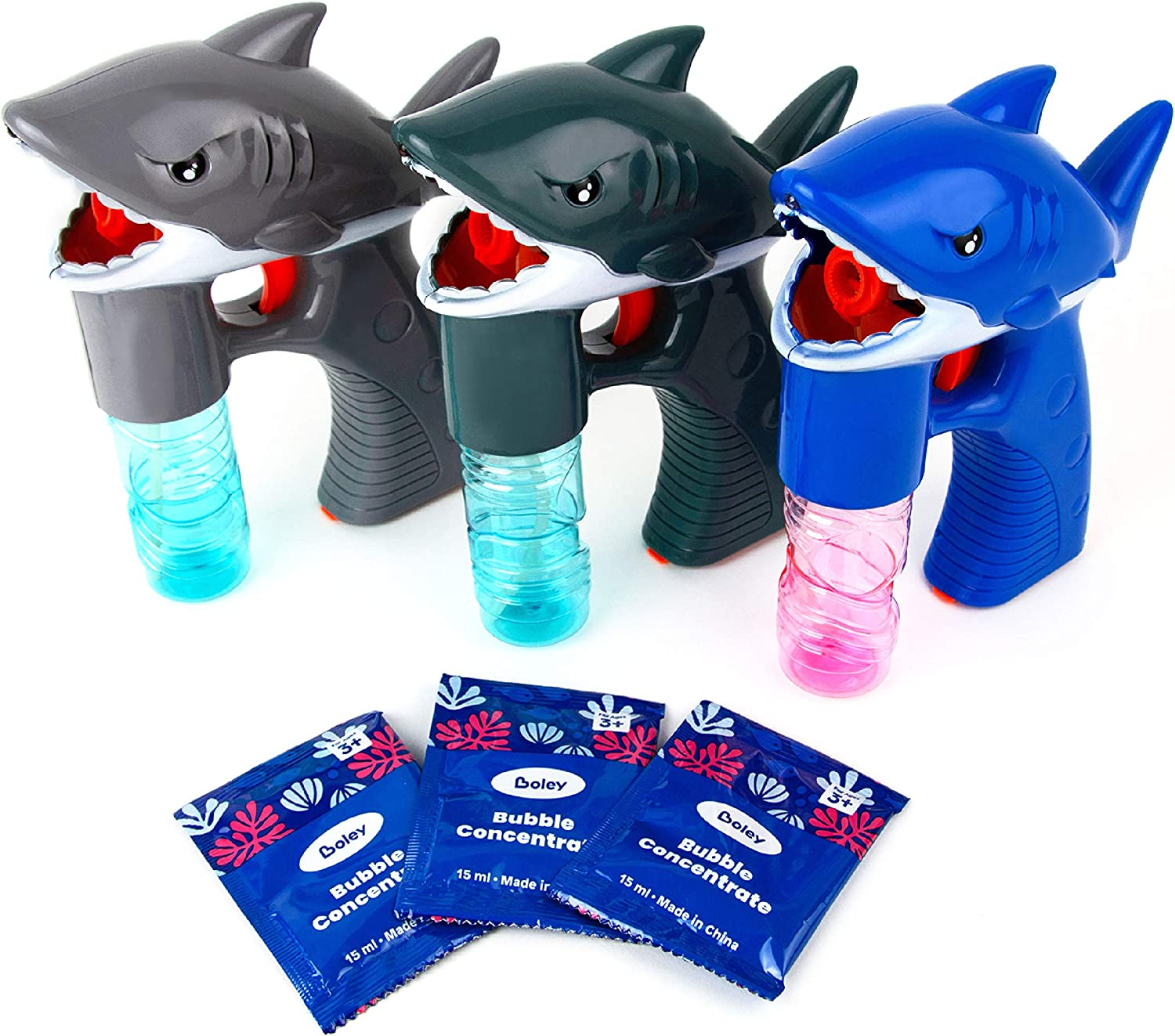 Boley Shark Bubble Guns - 3 Pack Light-Up Bubble Gun for Kids and Toddlers - Sharks Bubble Blower Blaster Machine Shooter for Boys and Girls